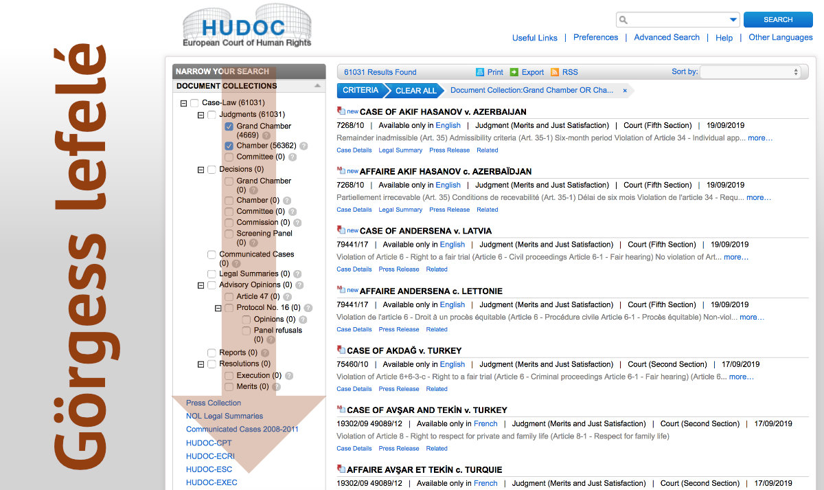 HUDOC adatbázis