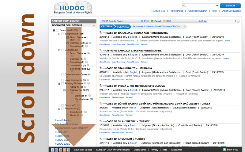 Usage of HUDOC